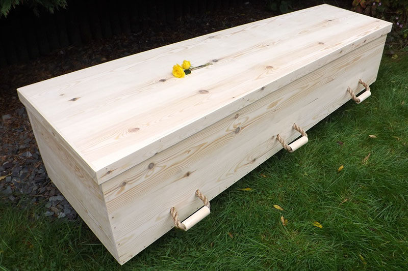A Feet First's Toe-Pinch Coffin ready to be finished to your persoanl requirements
