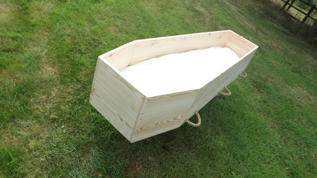 Standard eco-Traditional Toe-Pinch Coffin open